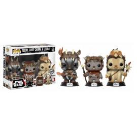 Figurine Star Wars - Pack Teebo, Chirpa, Logray Exclusive Pop 10cm