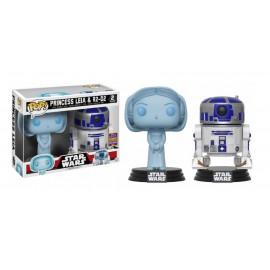 Figurine Star Wars - Bi Pack Princess Leia Holographic & R2-D2 SDCC 2017 Pop 10cm