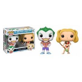 Figurine DC Comics - Bi-Pack Joker (Beach) & Harley Quinn Exclusive Pop 10cm