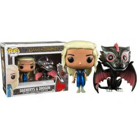 Figurine Game of Thrones - Pack Drogon et Mhysa Daenerys Metallic Excluxive Pop 10cm