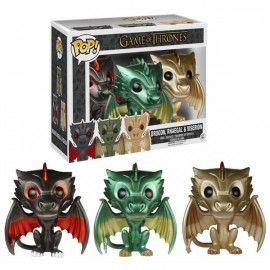 Figurine Game of Thrones - Pack de 3 Metallic Dragons Eclusive Pop 10cm