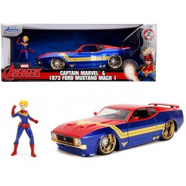 Réplique Marvel - Captain Marvel Hollywood Rides Ford Mustang Mach1 1973 1/24 métal