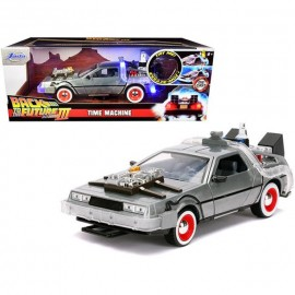 Réplique Retour Vers le Futur 3 - DeLorean Time Machine Hollywood Rides 1/24 métal