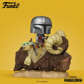 Figurine Star Wars - The Mandalorian - The Mandalorian & the Child on Bantha Deluxe - Pop 15 cm