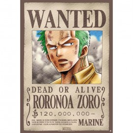 """Poster - One Piece """"Wanted Zoro"""" 52x38cm"""